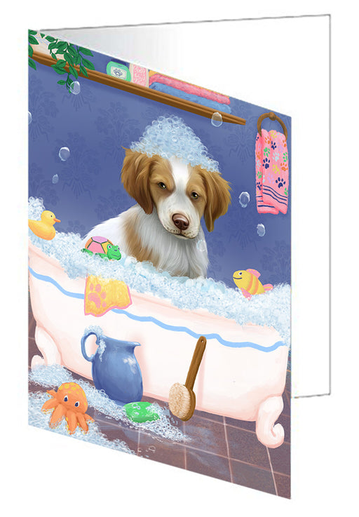 Rub A Dub Dog In A Tub Brittany Spaniel Dog Greeting Card GCD79286