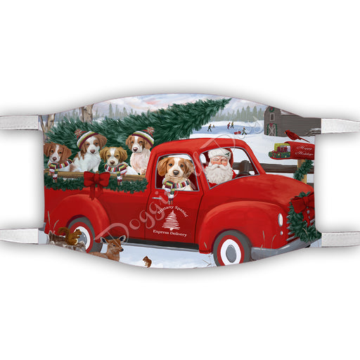 Christmas Santa Express Delivery Red Truck Brittany Spaniel Dogs Face Mask FM48422