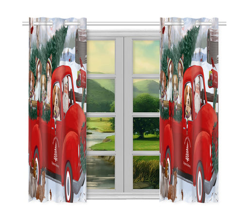 Christmas Santa Express Delivery Red Truck Brittany Spaniel Dogs Window Curtain