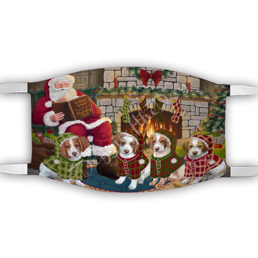 Christmas Cozy Holiday Fire Tails Brittany Spaniel Dogs Face Mask FM48616