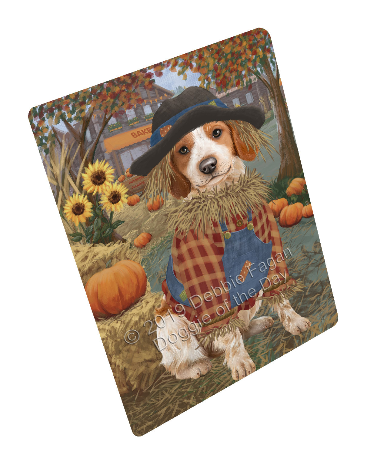 Halloween 'Round Town And Fall Pumpkin Scarecrow Both Brittany Spaniel Dogs Large Refrigerator / Dishwasher Magnet RMAG104682