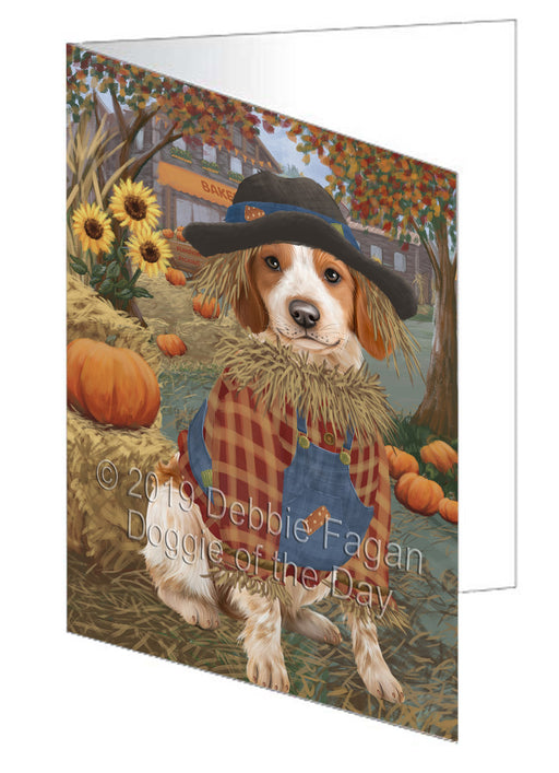 Fall Pumpkin Scarecrow Brittany Spaniel Dog Note Card NCD77972