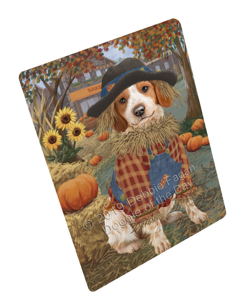 "Halloween 'Round Town And Fall Pumpkin Scarecrow Both Brittany Spaniel Dogs Magnet MAG77257 (Mini 3.5"" x 2"")"