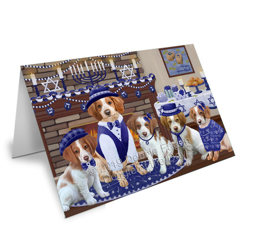 Happy Hanukkah Family Brittany Spaniel Dogs Note Card NCD78155