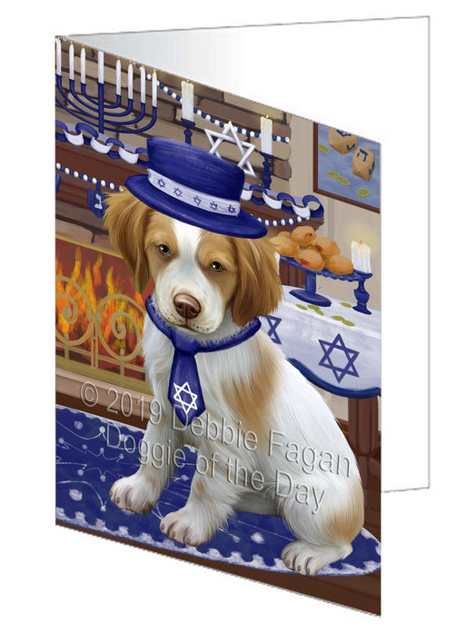 Happy Hanukkah Brittany Spaniel Dog Note Card NCD78323