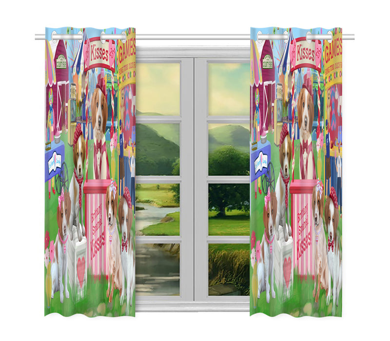 Carnival Kissing Booth Brittany Spaniel Dogs Window Curtain