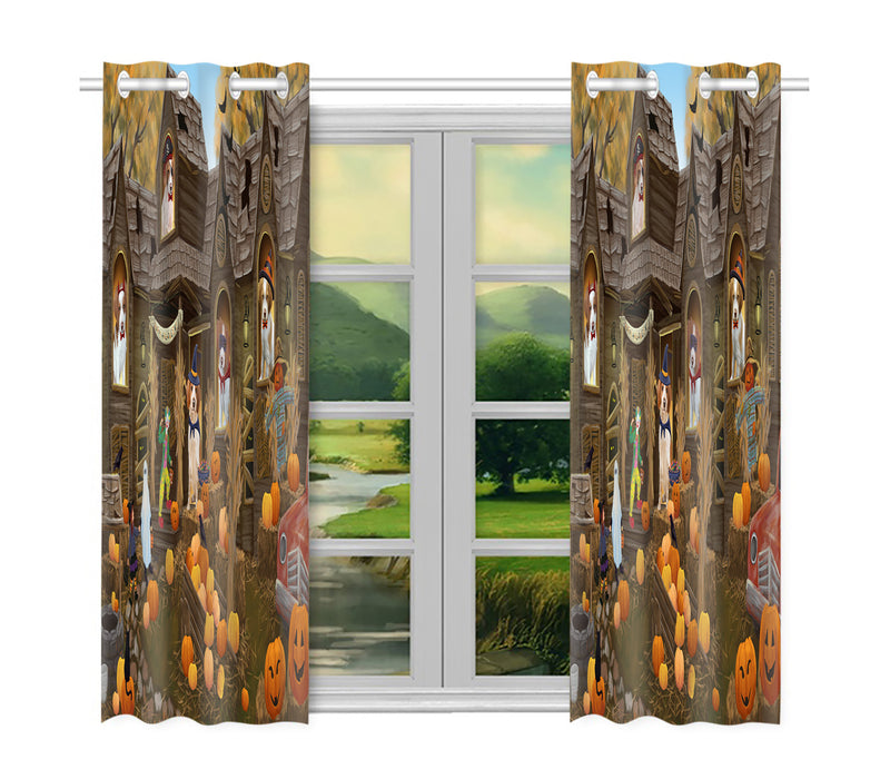 Haunted House Halloween Trick or Treat Brittany Spaniel Dogs Window Curtain