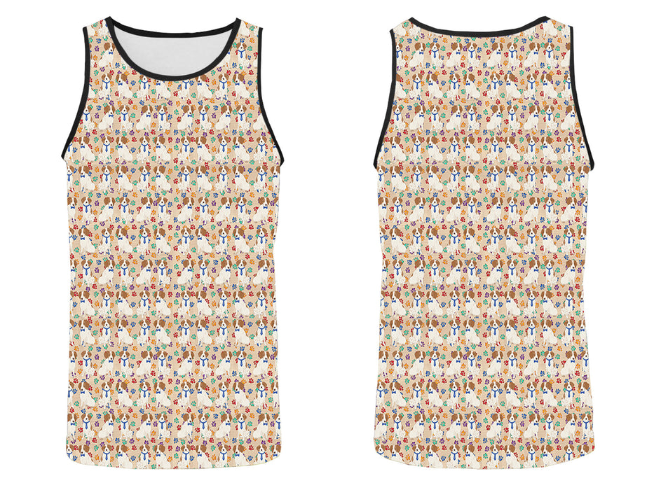 Rainbow Paw Print Brittany Spaniel Dogs Blue All Over Print   Men's Tank Top