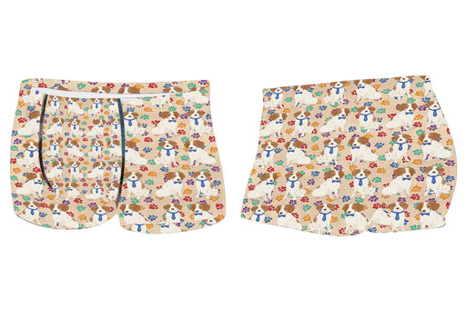 Rainbow Paw Print Brittany Spaniel Dogs BlueMen's All Over Print Boxer Briefs