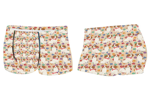 Rainbow Paw Print Brittany Spaniel Dogs RedMen's All Over Print Boxer Briefs
