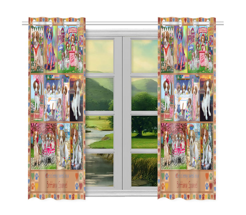 Love is Being Owned Brittany Spaniel Dog Beige Window Curtain