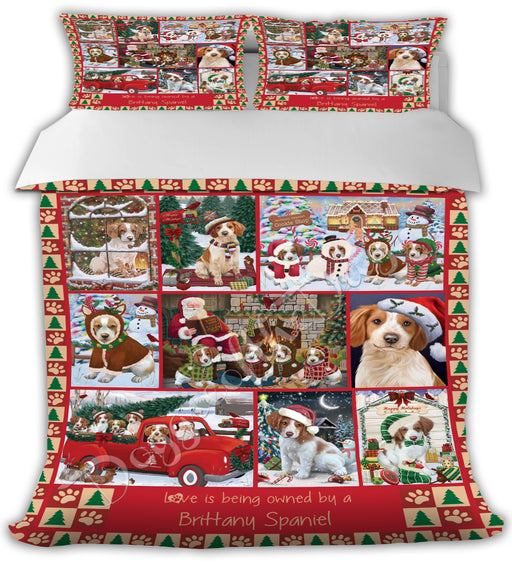 Love is Being Owned Christmas Brittany Spaniel Dogs Bed Duvet Cover DVTCVR48854