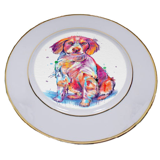 Watercolor Brittany Spaniel Dog Porcelain Plate PLT57125