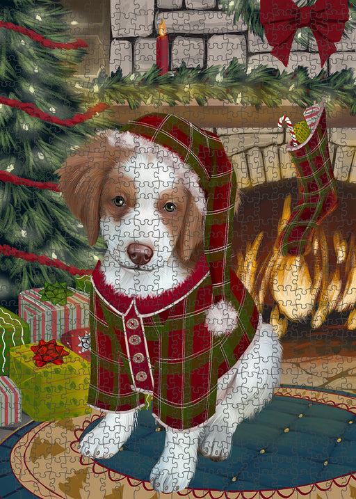 The Stocking was Hung Brittany Spaniel Dog Puzzle with Photo Tin PUZL89180