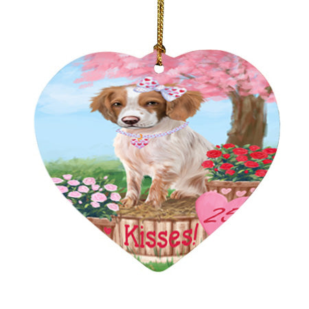Rosie 25 Cent Kisses Brittany Spaniel Dog Heart Christmas Ornament HPOR56771