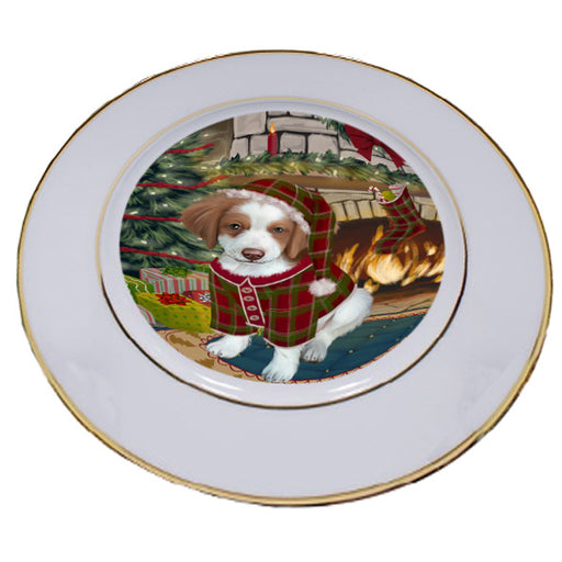 The Stocking was Hung Brittany Spaniel Dog Porcelain Plate PLT53593