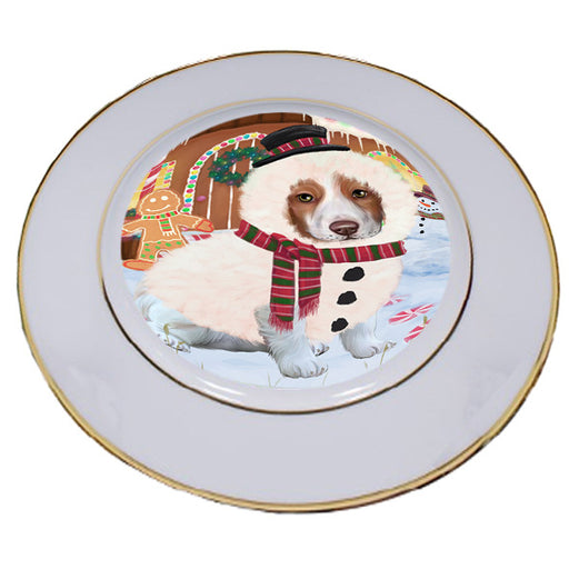 Christmas Gingerbread House Candyfest Brittany Spaniel Dog Porcelain Plate PLT54563
