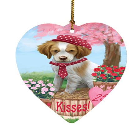 Rosie 25 Cent Kisses Brittany Spaniel Dog Heart Christmas Ornament HPOR56772