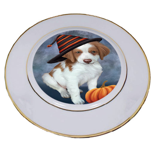 Happy Halloween Brittany Spaniel Dog Wearing Witch Hat with Pumpkin Porcelain Plate PLT56845