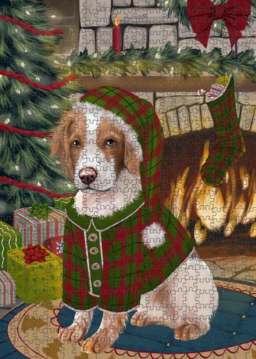 The Stocking was Hung Brittany Spaniel Dog Puzzle with Photo Tin PUZL89184
