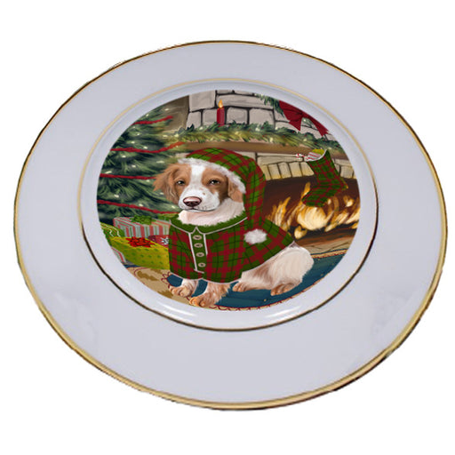 The Stocking was Hung Brittany Spaniel Dog Porcelain Plate PLT53594