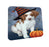 Happy Halloween Brittany Spaniel Dog Wearing Witch Hat with Pumpkin Coasters Set of 4 CST54880