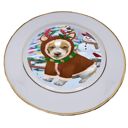 Christmas Gingerbread House Candyfest Brittany Spaniel Dog Porcelain Plate PLT54564