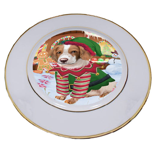 Christmas Gingerbread House Candyfest Brittany Spaniel Dog Porcelain Plate PLT54565