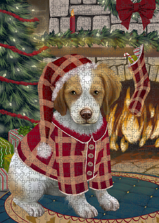 The Stocking was Hung Brittany Spaniel Dog Puzzle with Photo Tin PUZL89188