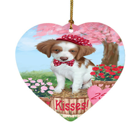 Rosie 25 Cent Kisses Brittany Spaniel Dog Heart Christmas Ornament HPOR56773