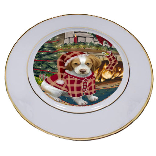 The Stocking was Hung Brittany Spaniel Dog Porcelain Plate PLT53595