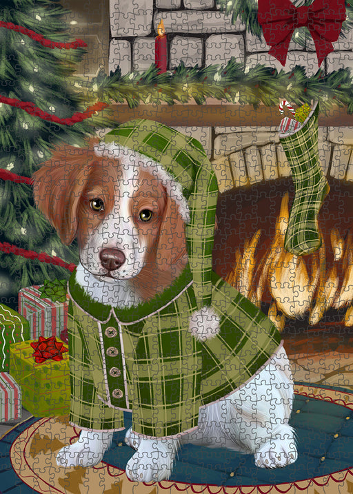 The Stocking was Hung Brittany Spaniel Dog Puzzle with Photo Tin PUZL89192