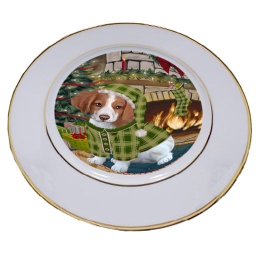 The Stocking was Hung Brittany Spaniel Dog Porcelain Plate PLT53596