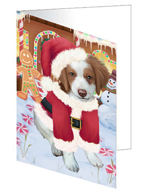 Christmas Gingerbread House Candyfest Brittany Spaniel Dog Note Card NCD73379