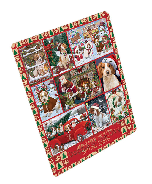 Love is Being Owned Christmas Brittany Spaniel Dogs Refrigerator / Dishwasher Magnet RMAG107784