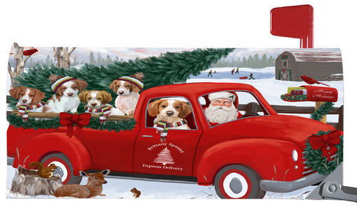 Magnetic Mailbox Cover Christmas Santa Express Delivery Brittany Spaniels Dog MBC48304