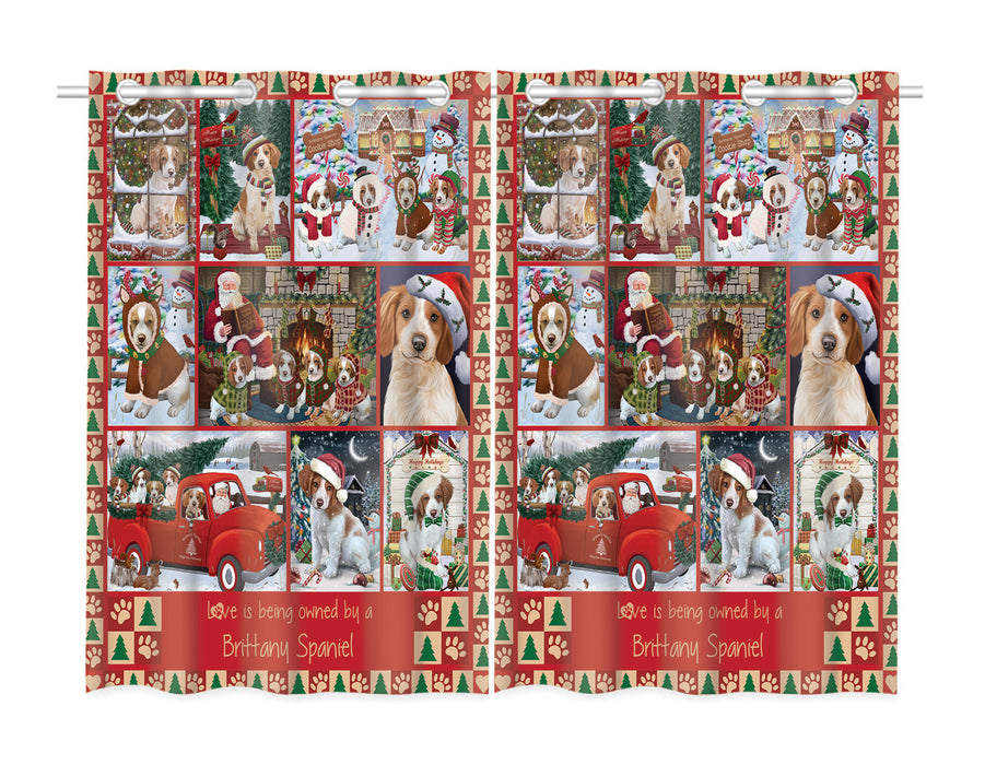 Love is Being Owned Christmas Brittany Spaniel Dogs Window Curtain
