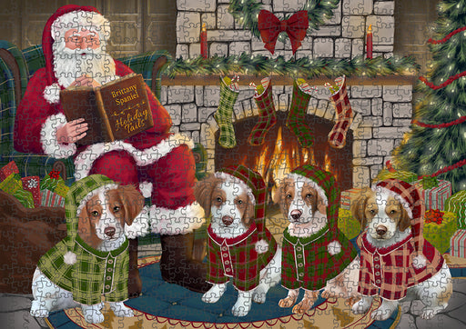 Christmas Cozy Holiday Tails Brittany Spaniels Dog Puzzle with Photo Tin PUZL88640