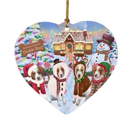Holiday Gingerbread Cookie Shop Brittany Spaniels Dog Heart Christmas Ornament HPOR56741