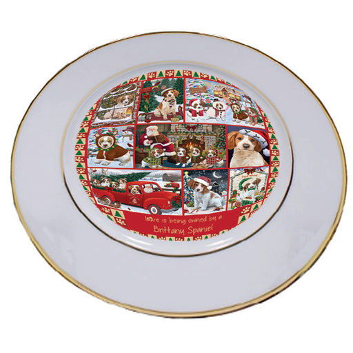 Love is Being Owned Christmas Brittany Spaniel Dogs Porcelain Plate PLT57257