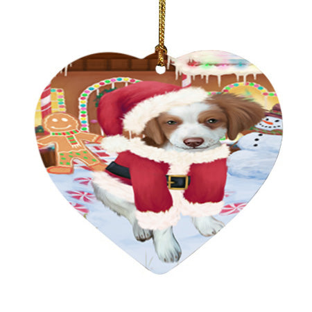 Christmas Gingerbread House Candyfest Brittany Spaniel Dog Heart Christmas Ornament HPOR56644