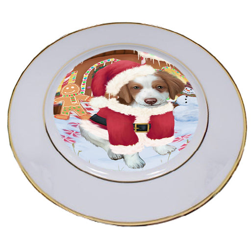 Christmas Gingerbread House Candyfest Brittany Spaniel Dog Porcelain Plate PLT54637