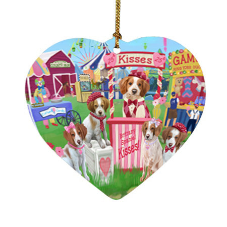 Carnival Kissing Booth Brittany Spaniels Dog Heart Christmas Ornament HPOR56635