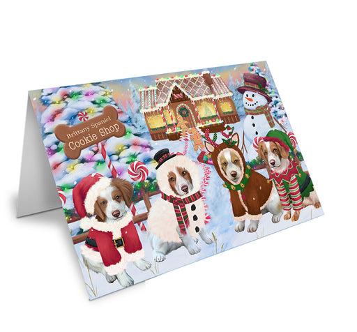 Holiday Gingerbread Cookie Shop Brittany Spaniels Dog Note Card NCD73670