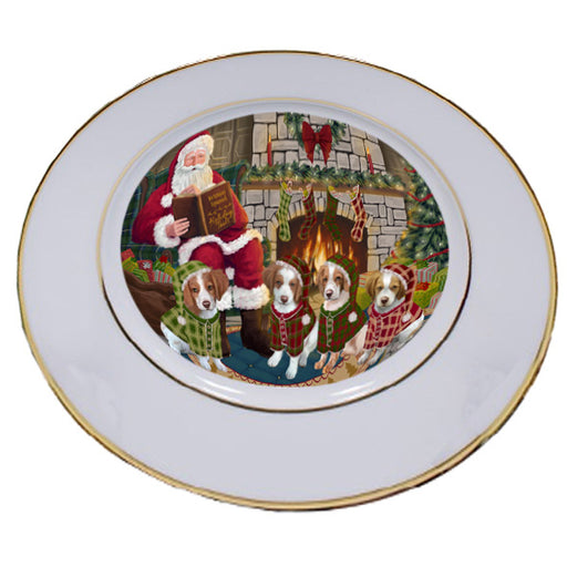Christmas Cozy Holiday Tails Brittany Spaniels Dog Porcelain Plate PLT53458