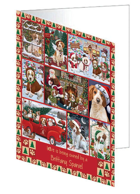 Love is Being Owned Christmas Brittany Spaniel Dogs Note Card NCD78854