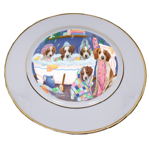 Rub A Dub Dogs In A Tub Brittany Spaniels Dog Porcelain Plate PLT55122