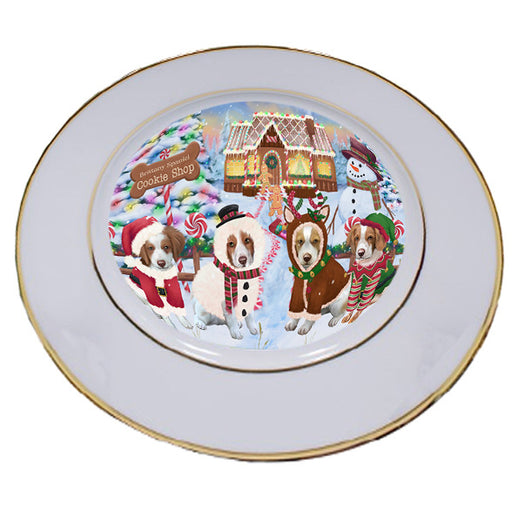 Holiday Gingerbread Cookie Shop Brittany Spaniels Dog Porcelain Plate PLT54734