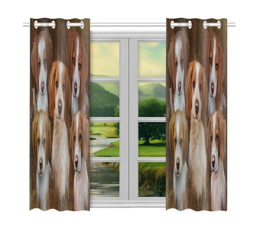 Rustic Brittany Spaniel Dogs Window Curtain