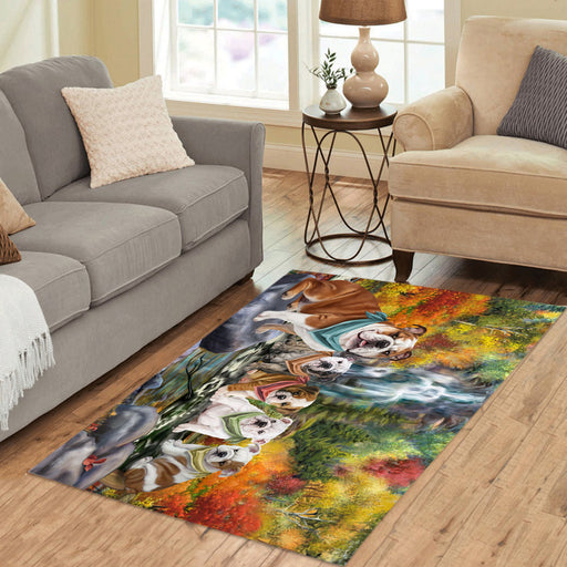 Scenic Waterfall Bulldogs Area Rug
